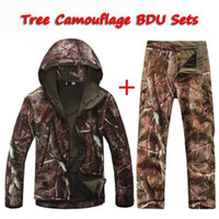 Wholesale tactical military BDU tree camouflage softshell TAD V4 Men Outdoor Hunting sets Polyester Coats Jacket Hoody Windproof Jacket pants