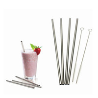 Wholesale High quality Stainless Steel Curved straw Straight straw Straw spoon Beer Juice Straws Cleaning Brush Set Retail Packing Kit
