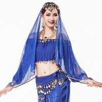 indian clothes - 6 Colors Indian Dance Clothes Women Accessories Sequin Chiffon Fabric Gold Coin with Rhinestone Sari Belly Dance Veil Headpieces