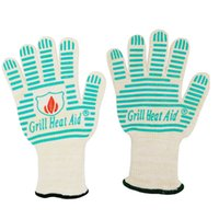 Wholesale Brand New Protective Mitts Heat Resistant Light Weight Flexible BBQ Gloves Cotton Lining For Super Comfort Mint Green Stripes Gloves