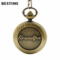 achat en gros de grande valeur-BESTIME Watch The Greatest Grandpa Design Cadeau Pocket Watch Chaîne Quartz Mouvement White Dial Value Qualité Roman Numeral