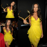 Cheap Sexy Yellow Colour Megan Fox Evening Dress Spaghetti Straps Red Carpet Short Celebrity Prom Dress Party Gown