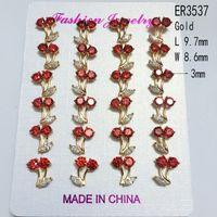 amethyst gold jewellery - Luxury CZ Diamond Jewelry Small Cute Stud Earrings Marquise cut Multicolour Clear Flower Shape Cubic Zirconia Diamond Earring Jewellery