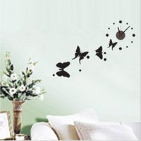 Wholesale Removable DIY creative Romantic butterfly Artistic Wall Hanging Clocks Mechanism Wall Clock Sticker