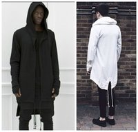 Wholesale 2016 Hoodies For Men Urban Hoodie Hip Hop Jacket White Black Men s Coat Extended Cape Hoodie Mens Hooded Cloak Hoodies