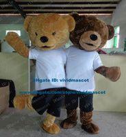 bear pants costume - Smiling Brown Teddy Bear Mascot Costume Cartoon Character Mascotte Adult Big Feet Black Pants Small Eyes NO