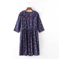 average waist sizes - Average size doll led minutes of sleeve cherry flower button natural waist cotton dress Free shopping