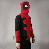 Cheap Wholesale-2016 Deadpool Hoodie Marvel Hooded Men Sweatshirt Zipper Outerwear Jacket 3D Anime Characters Hoodies Deadpool Cosplay Costume