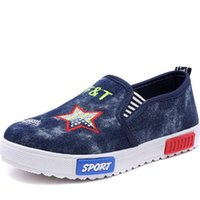 alphabet appliques - New fashion alphabet pentacle pattern a variety of styles the of elastic band denim cloth shoes boys girls comfortable canvas shoes HD286