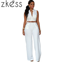adult rompers - Zkess Adult Colors Plus Size XL Women Playsuits Fashion White Belted Wide Leg Jumpsuit Rompers Long Macacao Overalls LC60932