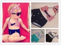 Wholesale Swimwear For Little Girls - Cute baby little girls rain bow Fringe string Bikini swimsuit bathing suit for kid high waist toddler Swimwear Biquini infantils