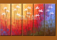 acylic painting - 5 panel huge abstract modern canvas wall acylic handpainted flower pictures oil painting on canvas for living room decoration