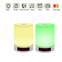 alarm switch box - Wireless Bluetooth Speaker Alarm Clock Touch Switch LED Night Light Music Sound Box Support Hands Free Call TF Card Slot