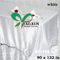 Wholesale White Color Satin Rectangular Table Cloth For Wedding Decoration