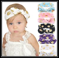 alexandrite colors - 2016 Kids Baby colors Babys Girl Kids Toddler Turban Knot Rabbit Headband Bow Cotton Hairband Headwear Bowknot Hair band Accessories
