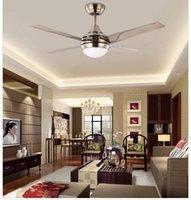 Wholesale Modern minimalist stainless steel leaf inch LED fan ceiling fan light bedroom ceiling fan lights with remote control