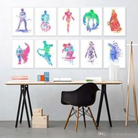 batman original art - Original Watercolor Super Hero Avenger Batman Kids Room Decoration Wall Art Abstract Pop Movie Poster Print Canvas Painting Gift