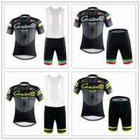anti cafe - Castélli Cafe Cycling Jerseys Set Short Sleeve With Gel Padded Bib None Bib Pants Black White Yellow Men Cycling Clothing XS XL