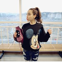 Wholesale Europe Women Lady Hoodies Graffiti Casual Sweatshirts Spring Autumn Outwear Hoody Streetwear Hooded Pullover High Quality Cartoon Mouse Tops