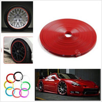 Wholesale Red Car Wheel Hub Rim Edge Protector Ring Tire Guard Sticker Line Rubber Strip