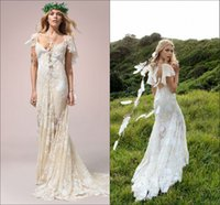 beach cross - Hayley Paige Champagne Lace Bohemain Cap Aleeve Wedding Dresses V neck See Through Beach Boho Country Wedding Gown