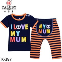 baby k clothing boys - 2016 baby letters love dad mam clothes two piece suit boys girls T shirts pants clothing sets size M K