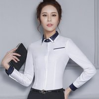 Wholesale Work wear white shirt female long sleeve formal professional slim pocket decoration cotton blouse women office Patchwork tops