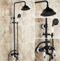 bath tub faucets bronze - Luxury Ceramic Deco Oil Rubbed Bronze Bath Rainfall Shower Faucet Set Tub Mixer Tap with Hand Spray