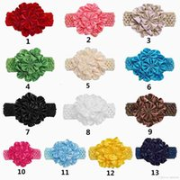 Wholesale Cute Kids Girls Rose Flower Headbands Candy Color Fashion Holiday Hair Accessories Ponytail Headbands
