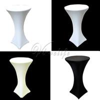 Wholesale 10PCS White Black Ivory Stretch Cocktail Lycra Dry Bar Spandex Table Cover Tablecloth Wedding Event Party Decor cm cm