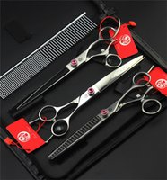 Wholesale in Swivel Thumb Professional Pet Scissors Set Japan C Straight Thinning Curved Scissors Dog Hair Cutting Grooming Shears