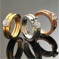 al por mayor anillos dobles de rosa-Doble combinación de anillos con diamantes de imitación, oro amarillo / oro rosa / plata colores de metal mujer / hombres de acero inoxidable joyas de boda de moda