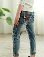 Wholesale new spring autumn Fashion zipper wild baby retro cowboy jeans children denim long pants
