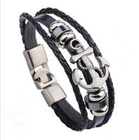 alloy braclet - 2016 New Leather Men Bracelet Jewelry Man Anchor Bracelet Wristband Charm Braclet For Male Accessories Hand Cuff Anchor pcsts