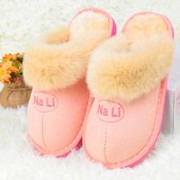 Wholesale 2016 High Quality Australia UG Fur Style Winter Warm Home Bedroom Slippers For Women Pink Thick Plush Soft Indoor Men Slippers