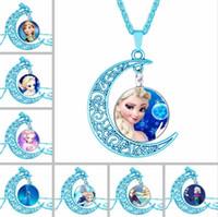 anna necklace - New frozen princess Anna elsa Blue moon time gem pendant necklace kinds of style children Kids pendant necklaces CC623
