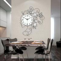 Wholesale 1pcs Creative girl luxury set auger large wall clock Sitting room bedroom mute quartz clock European fashion wall clock