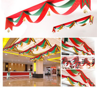 Wholesale New Christmas flag Christmas decorations hanging flag wave flags pull flag supermarket store bar decoration Include bell ring HA90