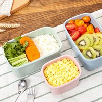 Wholesale 3 Wheat straw Lunchbox Bento Lunch Box Food Fruit Storage Container Plastic Lunch box Microwave Cutlery Set Gift