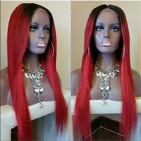 Cheap Two Tone Ombre 1B Red Color Silky Straight Full Lace Lace Front Brazilian Human Hair Wig Rihanna Style Ombre Red for Black Women