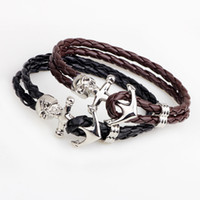 Wholesale Fashion Skull Heads Charms Bracklets Jewelry PU Leather Anchor Bracelets for Men Women Gift Summer Style hand knitted bracelet and Bangles