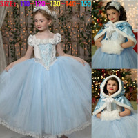 Wholesale Snow Queen Princess Girl Dress Winter Girls Clothes Cinderella Princess Dress Christmas Costume Girls Vestidos Ball Gown With Cloak Girls