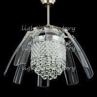Wholesale 42 inch Led Ceiling Fans Light AC V V Invisible Blades crystal wings Ceiling Fans Modern Fan Lamp Living Room Bedroom Chandeliers