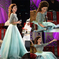 Wholesale Myriam Fares Arabic Mint Green Celebrity Evening Dresses Long Sleeves Rhinestones Crystal Beaded Party Gowns Boat Neck Open Back Prom