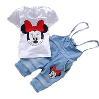 Cheap summer children infant girls clothing sets minnie mouse fashion brand shirt+denim jean 2pcs baby suits for kids wears