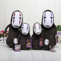 away red coat - 2pcs set Anime Cartoon cm Spirited Away No Face Plush Toy Doll with Ring Soft Stuffed Doll for kids