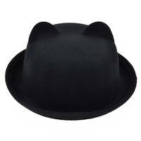 Wholesale Retro Cute Cat Ears Fedora Hat for Woman Hats for Women Black Wool Felt Flat Top Hat Cap Vintage Fedoras Trilby Gorras MZ0647
