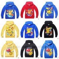 hoodies wholesale - Kids Poke Go Coat Pikachu Hoodies Pocket Jacket Monster Outwear Poke Ball Jumper Fashion Sweater Cartoon Pullover Poke Sweatshirts B910