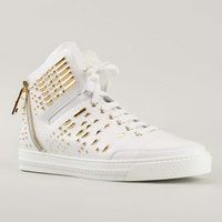 Wholesale Brand Designer White Leather Men Shoes Zipper Rivets Embellished High Top Lace Up Casual Shoes