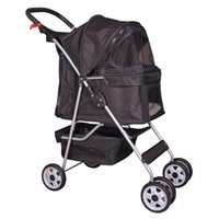 Wholesale 4 Wheels Folding Pet Stroller Cat Dog Cage Stroller Travel